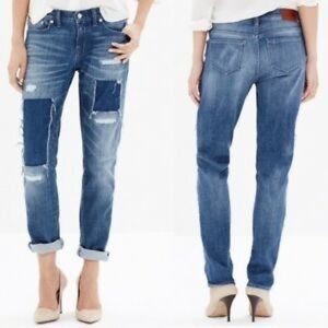 Madewell patchwork distressed jeans.